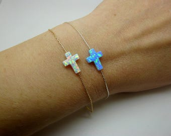 Sideways Cross Bracelet, Opal cross bracelet, Christian Jewelry, Cross Bracelet, Blue cross bracelet, Side Cross Bracelet, Horizontal cross