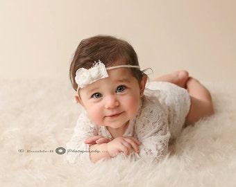 Sitter Romper Set, Vintage, Newborn Lace Romper, Tieback Set, Delicate, Baby girl photo prop, Photo Prop, White, Organic, Lace