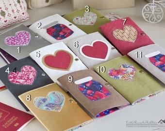Handmade passport cover with applique on washable kraft paper fabric / Passport holder / Travel wallet / Passport case