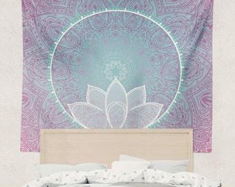 Lotus Mandala Tapestry Wall Hanging Art Meditation Yoga Buddha Hippie Pink and Blue