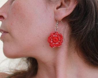 Earrings flower crocheted