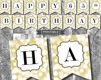 Gold and Black Sparkle Happy 65th Birthday Banner Party Decorations Printable Digital PDF Instant Download
