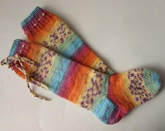 Striped Socks, Unique Knee Socks, Sze EU 36/37, Women's Socks, Hand Knitted Socks, Teens socks, Gift, Birthday Gift, Ready to ship