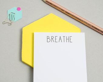 Sticky Notes - Miniature Notepad - Mini Notepad - Office Stationery - 'Breathe' Sticky Notes -  Sticky Notes - Reminder Note - To Do List
