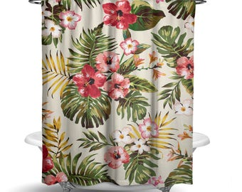 "Shower Curtain/ Tropical Flowers Leaves Fabric Shower Curtain / Bath Curtain/ Standard Length (71""x74"") MADE TO ORDER"