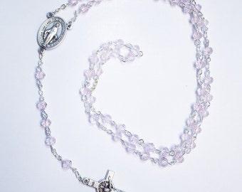 Gorgeous light pink crystal bead handmade Catholic rosary