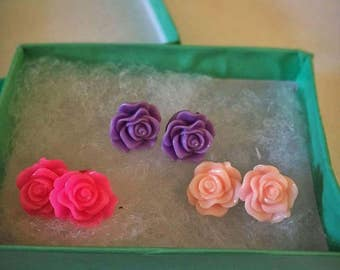 Pink and Purple Rose Earrings