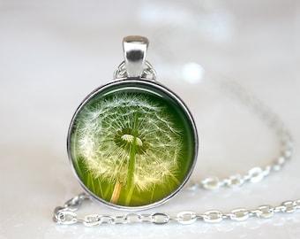 Dandelion Necklace Green Flower Pendant Green Dandelion Pendant Green Summer Jewelry Lions Teeth Necklace Summer Pendant Dandelion Necklace