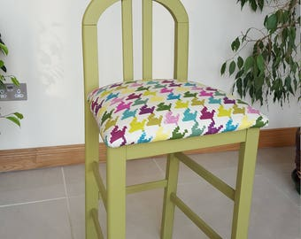 BAR STOOL - Art Deco Style with vivid fabric.  Reupholstered and painted in a fab green!