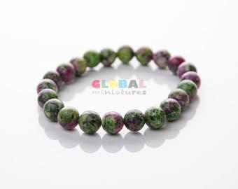 "3/8"" Green Stone Bead Bracelet"