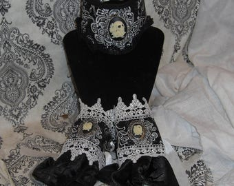 Day of the Dead Cameo Neck Corset and Cuffs, Gothic Choker, Goth, Dark, OOAK
