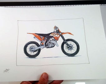 KTM Dirt Bike Motorcycle  | Fine Art Print | Motorcycle Art | Motorcycle Illustration
