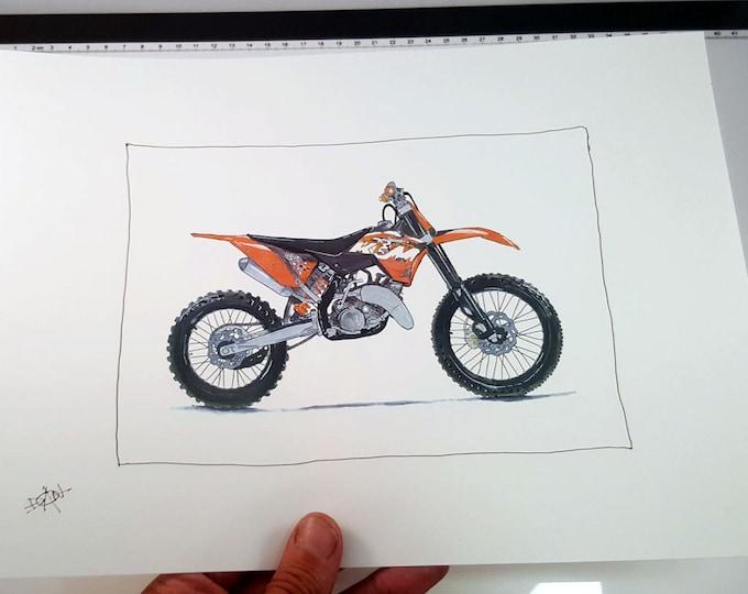 KTM Dirt Bike Motorcycle  | Fine Art Print | Motorcycle Art | Motorcycle Illustration