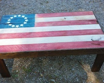 USA flag custom made table from appalachian hardwood custom requests available