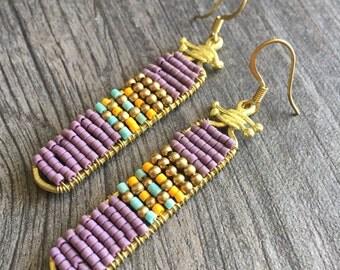 Brass beaded purple earrings,handmade beaded earrings, short dangle earrings