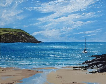 Meadowsfoot Beach, Mothecombe - Devon Seascape - Original Acrylic Painting