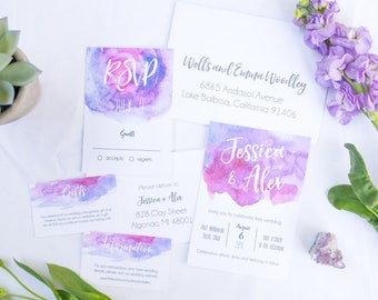 Wedding Invite, Customisable Modern Minimalistic Pastel Purple Watercolour Spring Summer Rustic Wedding Invitation Suite