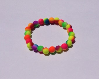 Neon rainbow bracelet, stretch bead bracelet, colourful jewelry, gift for her, ladies bracelet, spring bracelet, gift idea, tutti fruitti