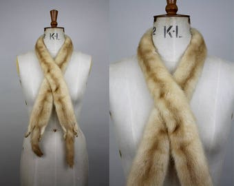 1950s Blonde Mink Fur Scarf / 50s Cream Fur Collar / Real Fur Scarf / 1950s Fur / XXS, XS, S, M, L , XL