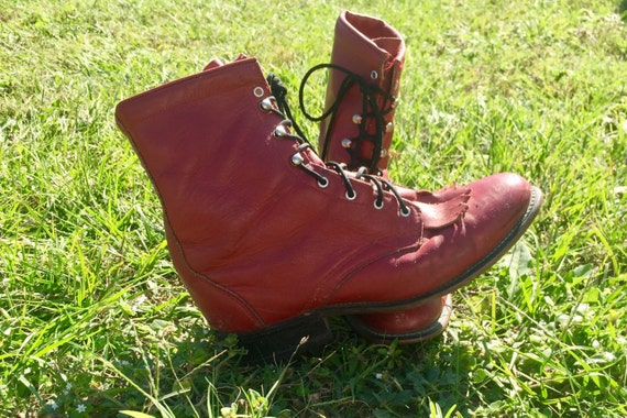 Vintage 80's Leather Lace-up Laredo Boots