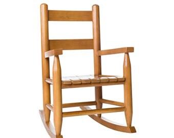 Oak Finish Wooden Childs Rocking Chair - Kids Heirloom Rocker