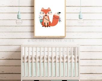 Unisex nursery decor | tribal fox print | woodland decoration | playroom | wall art | cute |  baby | unisex | kids room decor 009
