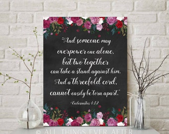 JW | Jehovah Ecc 4:12 Bible Verse Quote | Three Fold Cord | JW | Roses Chalkboard | Wedding Bible Quote Jehovah | Print | Baptism Gift | 110