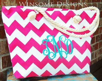 Monogram-Chevron-Tote-Pink-Tote Bag-with Zipper-Hot Pink-Monogrammed-Monogramming-With Initials-Initialed-Summer-Beach-Personalized-Initals