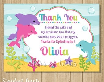 Dolphin Thank You Card, Dolphin Birthday, Under the sea thank you card
