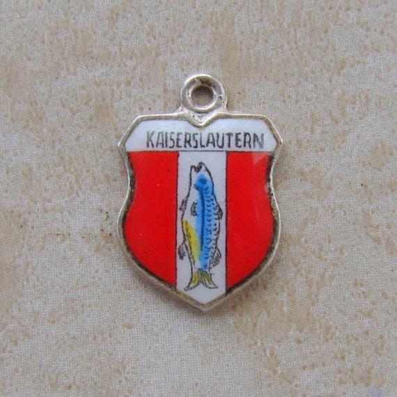 Kaiserslautern Germany Enamel Travel Shield Vintage Silver Bracelet Charm