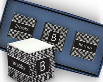 Personalized Self Stick Mini Memo Cubes with Name & Initial - Sticky Note Cube - 3377_02