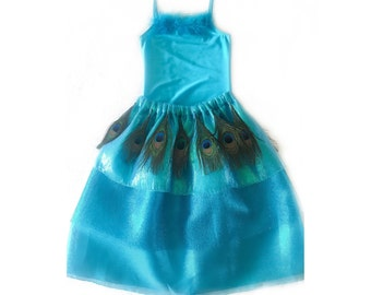 Peacock Flower Girl Dress, Peacock Ballerina Costume, Peacock Girl's Dress Up Costume, Girls Leotard and Tutu, Peacock Tutu, Size NB-9 Years
