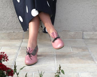 Pink Leather Sandals Shoes, Closed Toe Sandals, Womens Sandals, Leather Casual Sandals, Pink Strap Shoes, Pink Grey Shoes with Laces Shoes