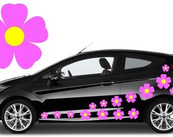 20, baby pink flower car decals,stickers in three sizes