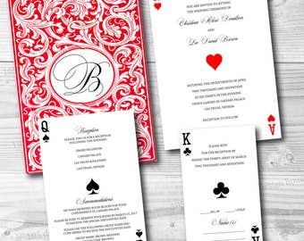 Las Vegas Wedding Invitation Printable - Las Vegas Invitation Set - Casino - Las Vegas Wedding Invitation (front & back), Reception and RSVP