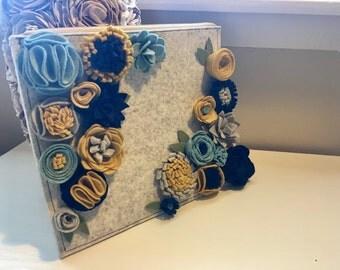 Felt flower clutch, wool felt flowers, merino felt handbag