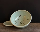 Pale blue berry bowl set with plate - small ceramic