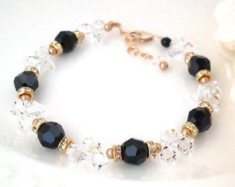 Black wedding, Swarovski crystal bracelet, Black and gold bridal bracelet, Mother of the bride wedding bracelet
