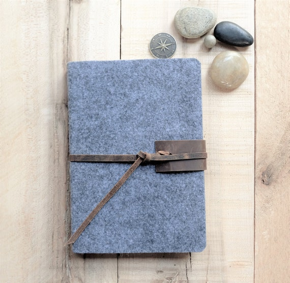 Wool and Leather Sketchbook - Medium - Gray