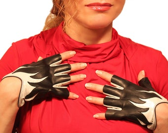 1344-Elegance Women's Genuine Lambskin Leather Gloves Black/Silver Two Tone Unlined - Fingerless, holiday, gift, driving gloves,Sale
