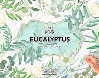 Watercolor Eucalyptus Leaves, Laurel and Wreath, wedding clip art, watercolor clip art, hand painted, leaves, watercolor clipart
