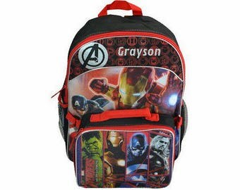 Personalized Marvel Avengers Backpack with Detachable Lunch Kit - 16 Inch