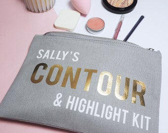 Personalised Contour Kit Make Up Bag - Cosmetics Case - Gift For Her - Ladies Beauty Accessory - Brush Holder - Rock On Ruby - Make Up Case