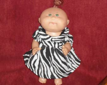 Cabbage Patch premie dress in zebra fabric