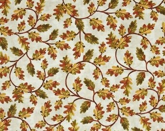 SALE Autumn Fabric - Vines  on Cream Fabric /  Harvest, Gold and Brown / Timeless Treasures c2196 / Fabric by the Yard, Fat Quarters / Cotto
