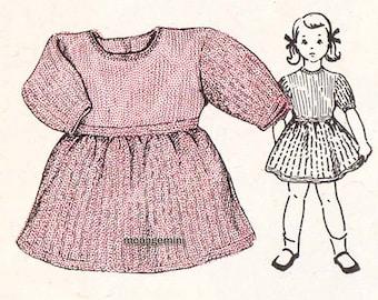 Knitting Pattern Girls Dress Childs Girls Toddler Back Button Closure Vintage Knitting Pattern Sz 2 - 3 Yr Old PDF