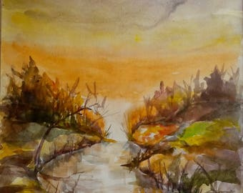 Watercolor painting, sunset over river, original