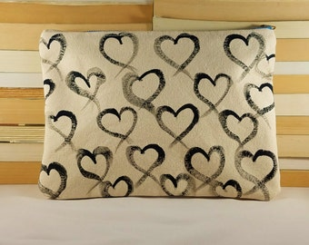 Handcrafted Hand Painted Canvas Heart Clutch Makeup Bag