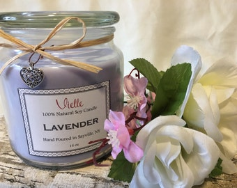 All Natural Handmade Soy Candle Lavender Scent 16 oz Apothecary Jar
