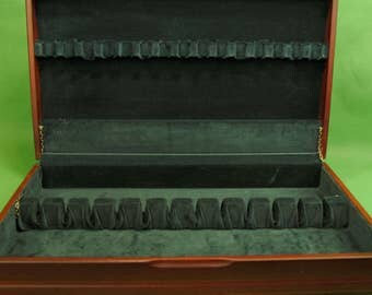 Vtg Anti Tarnish Reddish Wooden Silverware Chest  Holds Service for 12 SURFACE SCRATCHES